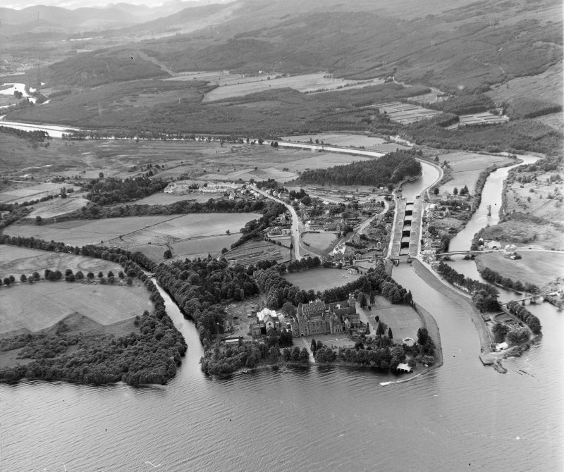 Neptune's Staircase, Banavie (Fort Augustus from over Loch Ness) Boleskine and Abertarff, Inverness-Shire, Scotland. Oblique aerial photograph taken facing South/West.