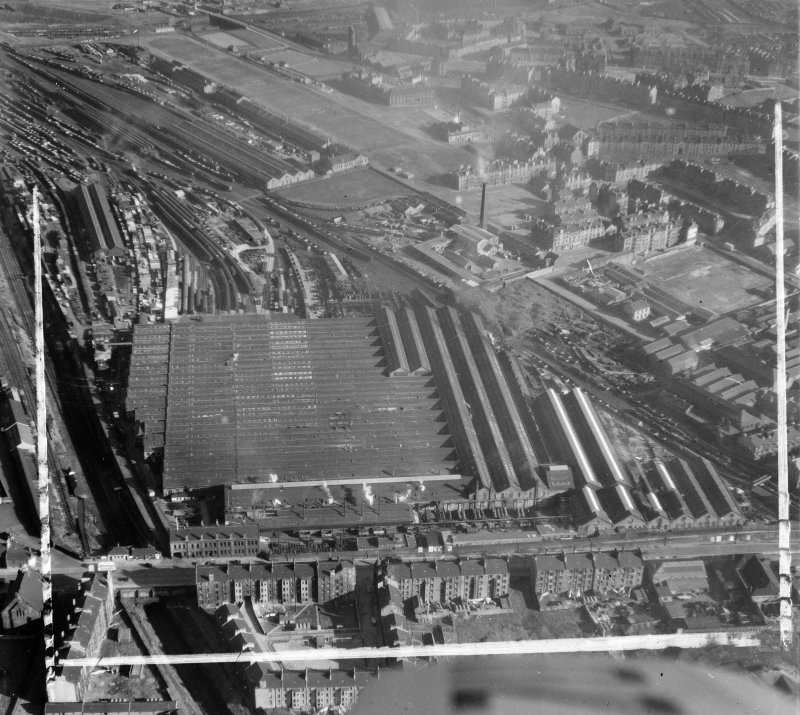 British Railways, Springburn Glasgow, Lanarkshire, Scotland. Oblique aerial photograph taken facing East. This image was marked by AeroPictorial Ltd for photo editing.