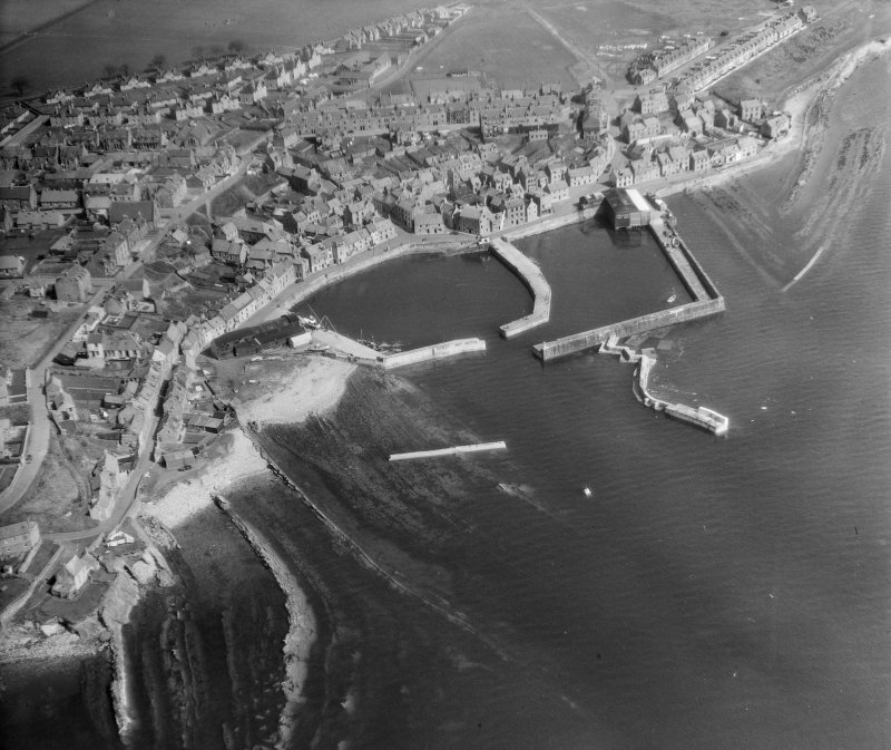 General View St Monance, Fife, Scotland. Oblique aerial photograph taken facing North/East.