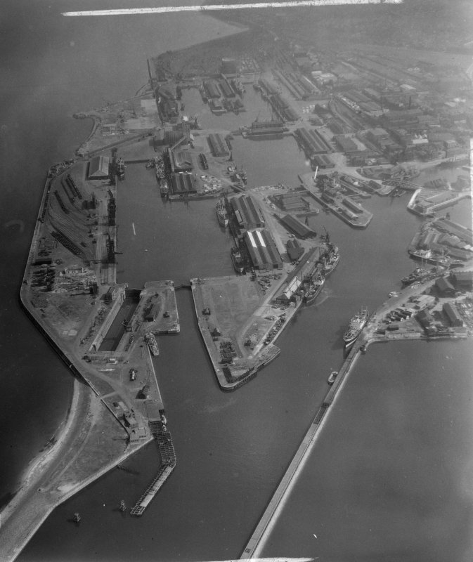 Leith Docks Edinburgh, Midlothian, Scotland. Oblique aerial photograph taken facing South/East. This image was marked by AeroPictorial Ltd for photo editing.