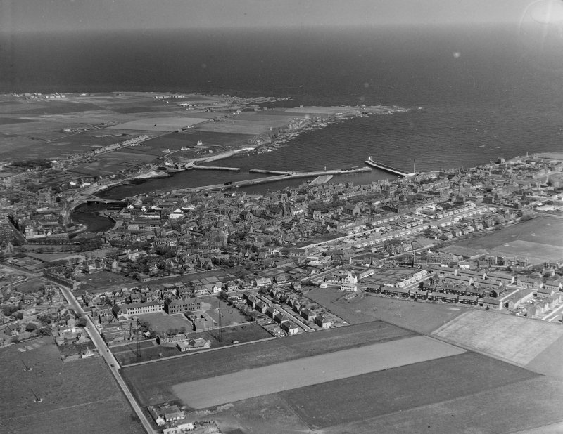 General View Wick, Caithness, Scotland. Oblique aerial photograph taken facing North/East.