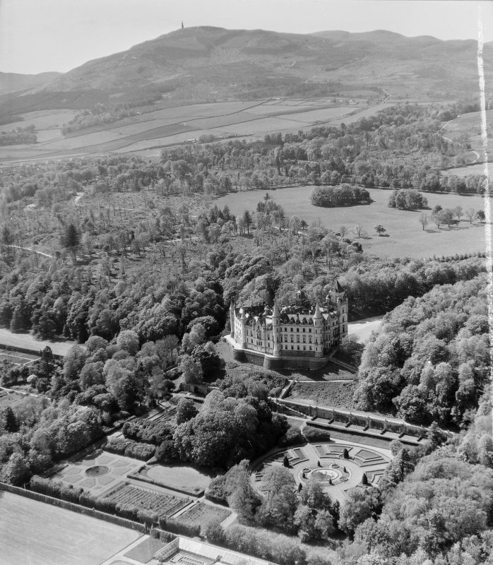 Dunrobin Castle Golspie, Sutherland, Scotland. Oblique aerial photograph taken facing North/West. This image was marked by AeroPictorial Ltd for photo editing.