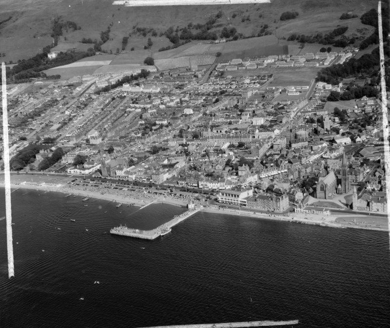 General View Largs, Ayrshire, Scotland. Oblique aerial photograph taken facing East. This image was marked by AeroPictorial Ltd for photo editing.