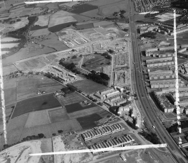 Corporation of Glasgow Architects and Planning Department, 20 Trongate, Glasgow.  Easterhouse Estate Old Monkland, Lanarkshire, Scotland. Oblique aerial photograph taken facing East.