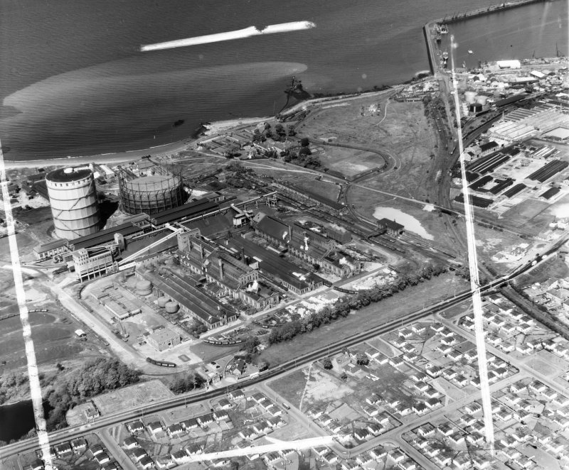 Scottish Gas Board, Granton Gas Edinburgh, Midlothian, Scotland. Oblique aerial photograph taken facing North. This image was marked by AeroPictorial Ltd for photo editing.