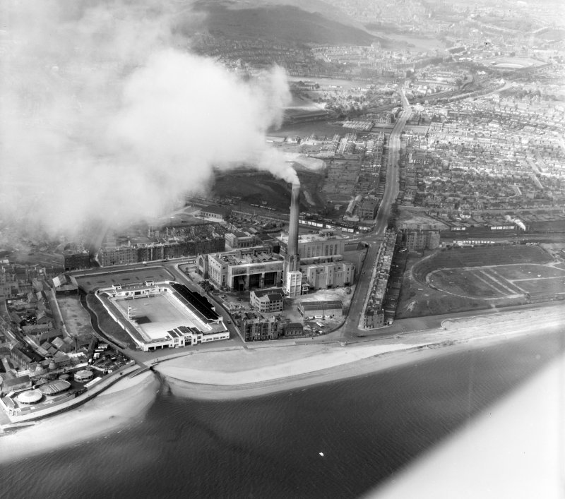 Portobello, including Generating Station Edinburgh, Midlothian, Scotland. Oblique aerial photograph taken facing South/West.