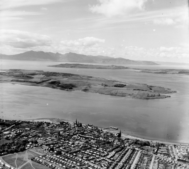 Looking to Isle of Arran Largs, Ayrshire, Scotland. Oblique aerial photograph taken facing West.