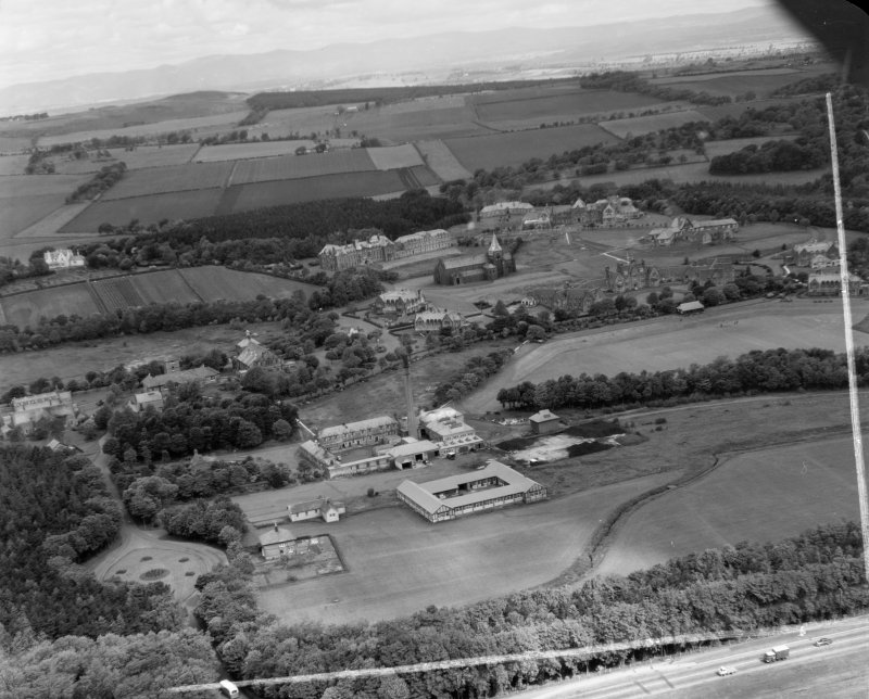 Bangour Mental Hospital, near Uphall Ecclesmachan, West Lothian, Scotland. Oblique aerial photograph taken facing North/West. This image was marked by AeroPictorial Ltd for photo editing.