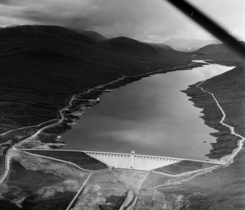 Glascarnoch Dam Urray, Ross And Cromarty, Scotland. Oblique aerial photograph taken facing North/West.