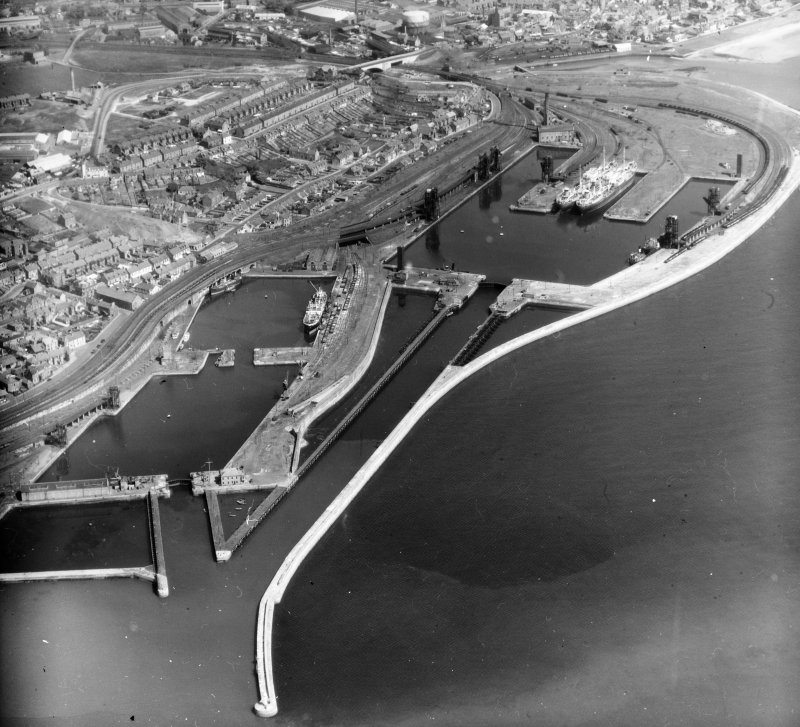 Methil Docks, Fife, Scotland. Oblique aerial photograph taken facing north.