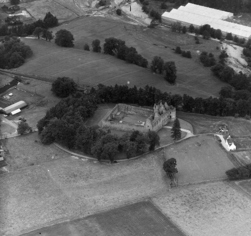 Balvenie Castle, Dufftown Mortlach, Banff, Scotland. Oblique aerial photograph taken facing North.