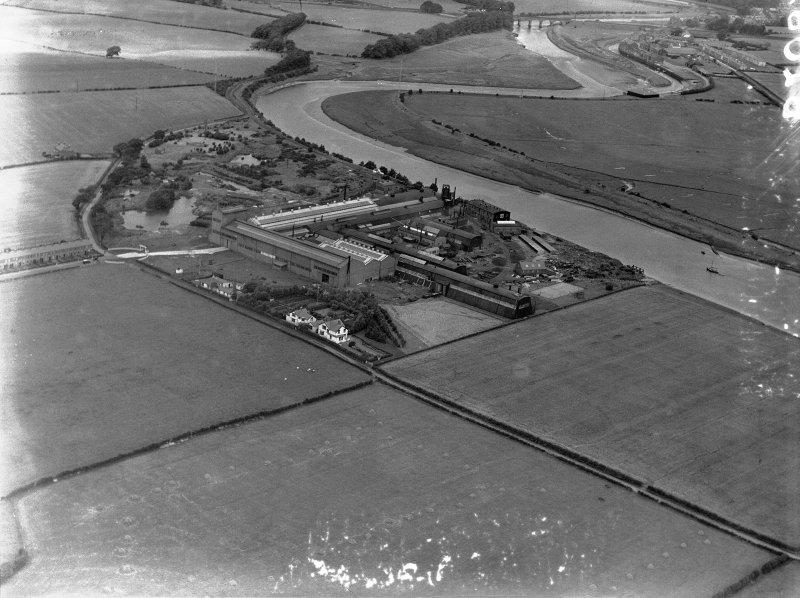 General View, Cochran and Co Annan Ltd. Newbie, Dumfries and Galloway, Scotland. Oblique aerial photograph taken facing North.