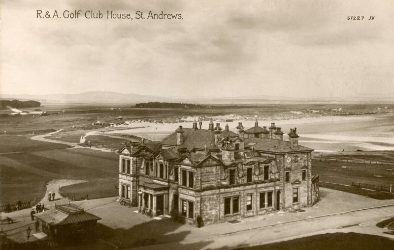 Oblique aerial view of the Royal and Ancient Golf Club House, St Andrews.
