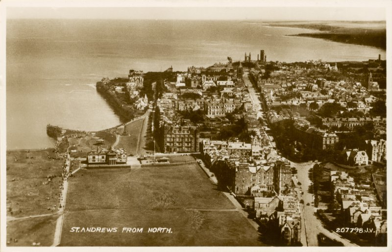 Oblique aerial view of St Andrews from north.