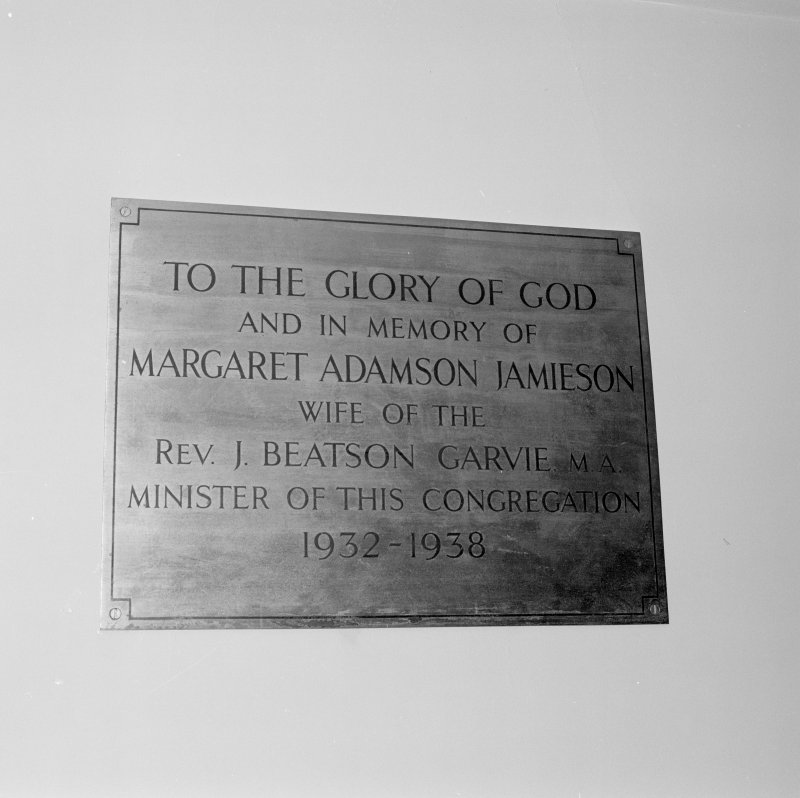 Interior. Detail of memorial plaque to the wife of Rev. Beatson Garvie.