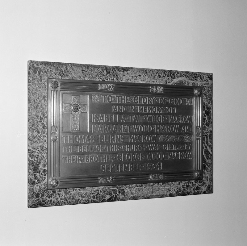 Interior. Detail of memorial plaque to Wood family.
