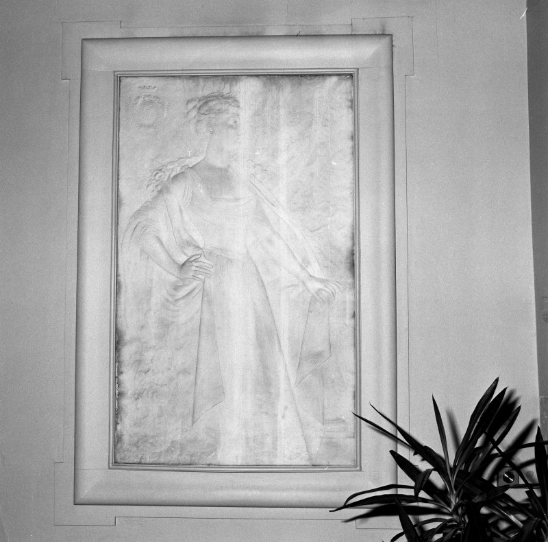 Interior. Detail of marble bass relief memorial of second Lady Tweedmouth.