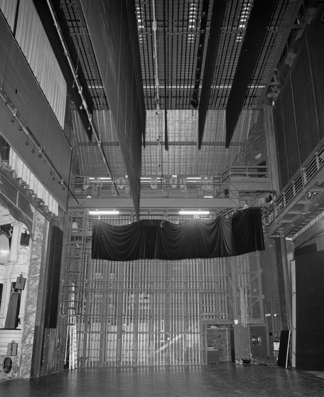 Aberdeen, Rosemount Viaduct, His Majesty's Theatre. Interior, stage, view from east showing fly curtains.