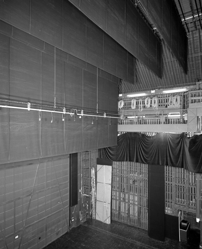 Aberdeen, Rosemount Viaduct, His Majesty's Theatre. Interior, backstage area, view showing fly curtains and rear of safety curtain.