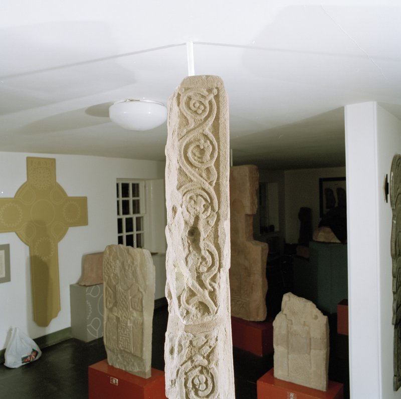 Detail of vine-scroll on upper side panel of the Drosten Stone Pictish cross-slab (St Vigeans no.1).