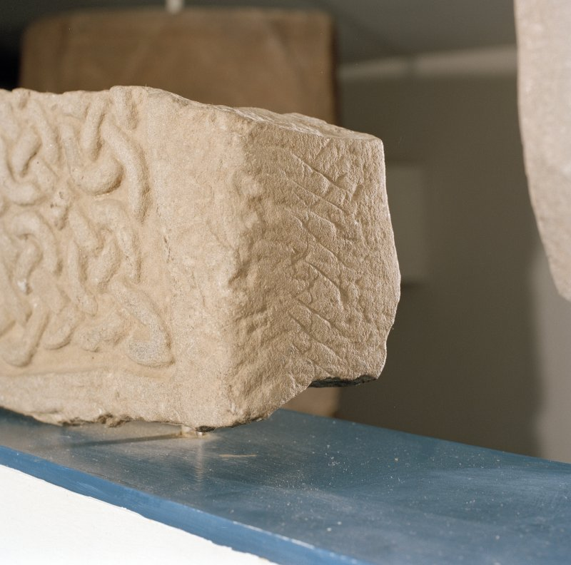 Detail of ogam inscription on side panel of Pictish cross-slab fragment (St Vigeans no.6).