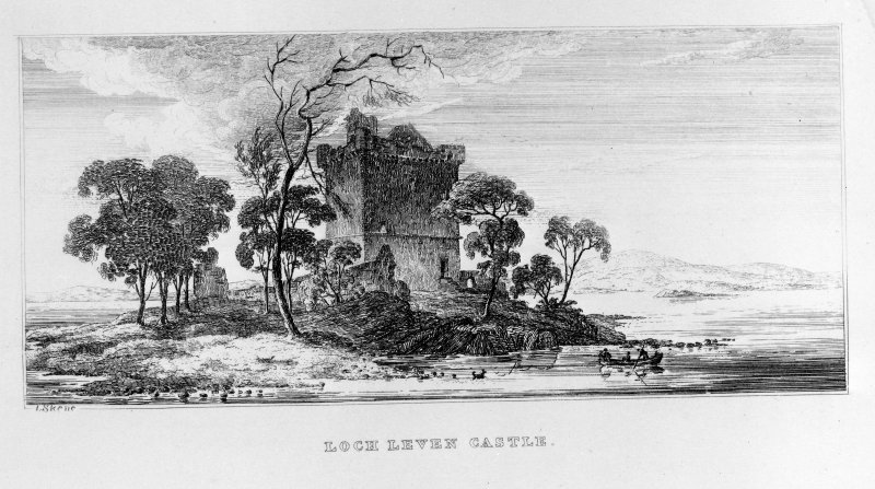 Photographic copy of sketch showing general view of castle. Insc: 'Loch Leven Castle'.