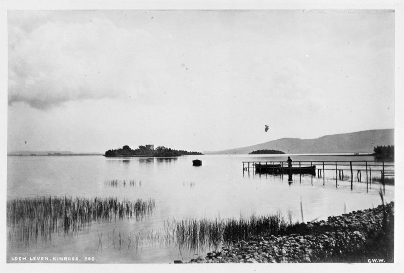 Photographic copy showing distant view of Lochleven Castle. Titled: 'Loch Leven, Kinross, 240 G.W.W.' PHOTOGRAPH ALBUM No.33: COURTAULD ALBUM.