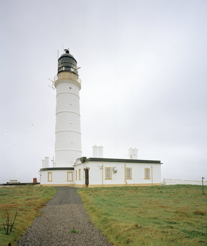 Islay, Orsay, Rhinns of Islay Lighthouse Lateral view from NW of lighthouse, and one of the adjacent keepers' houses