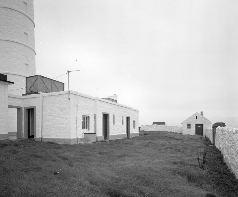 Islay, Orsay, Rhinns of Islay Lighthouse View from W of adjacent buildings at SW side of the lighthouse complex (lighthouse partially visible left)