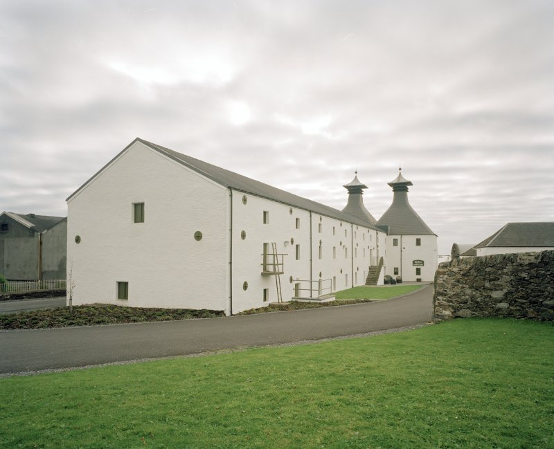 Ardbeg Distillery View from NW of former floor-maltings and kilns (E of two maltings blocks], the kilns having been recently converted to house a Visitors' Centre and cafe.