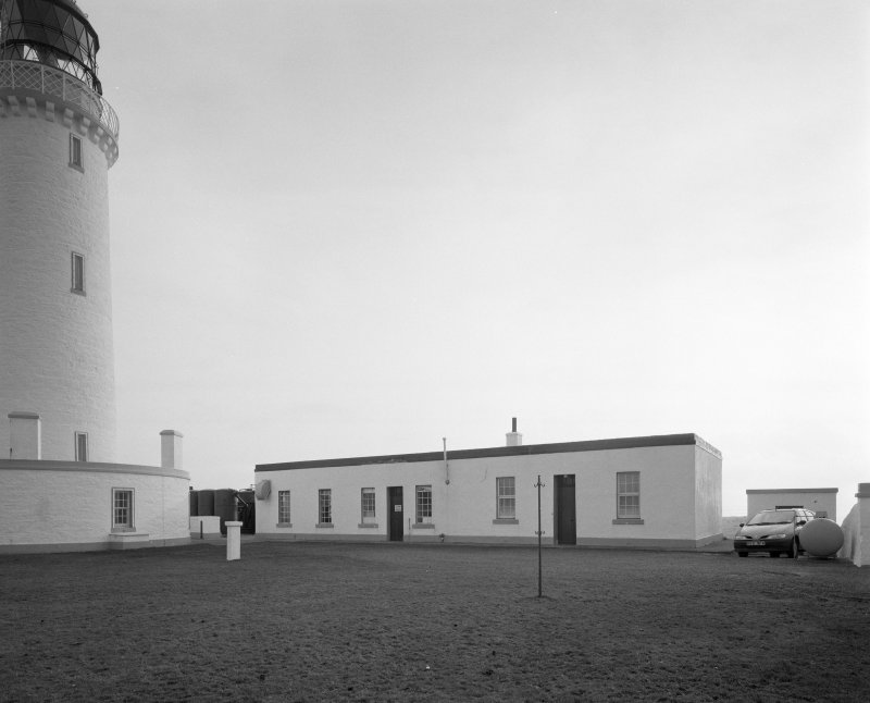 View from NNW of fog-horn engine house, which at the time of survey still contained the Alley and McLellan air compressor sets, driven by Kelvin diesel engines - a standard Northern Lighthouse Board arrangement.