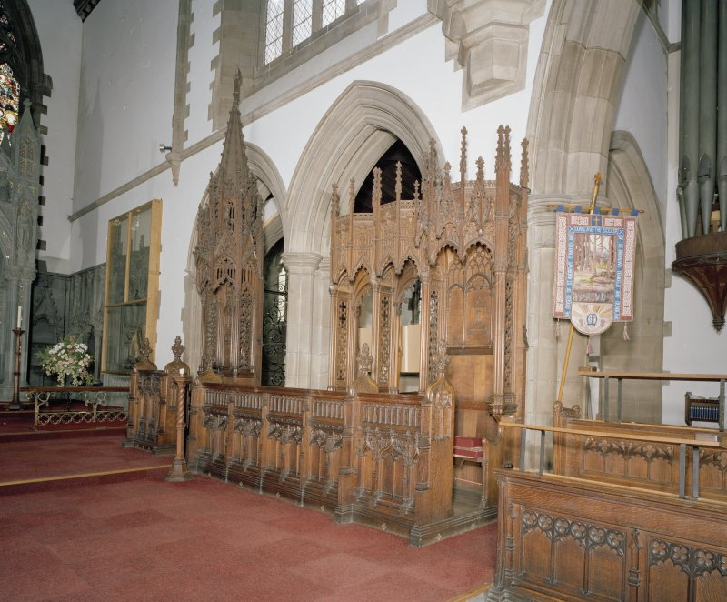 Interior. View of choir stalls