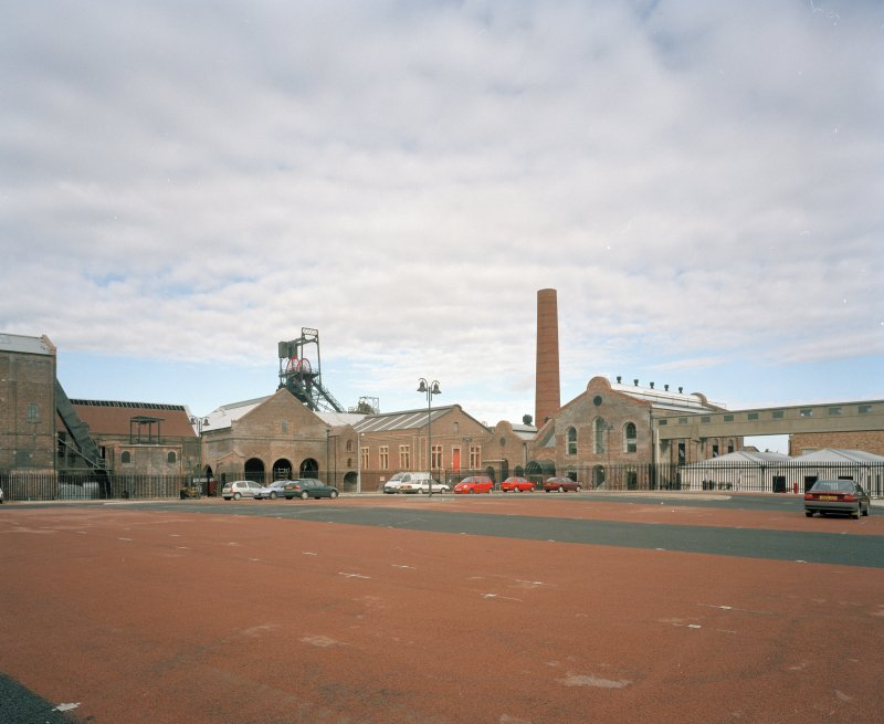 View of colliery surface buildings from SE, showing Phase 3 of the Scottish Mining Museum development nearing completion