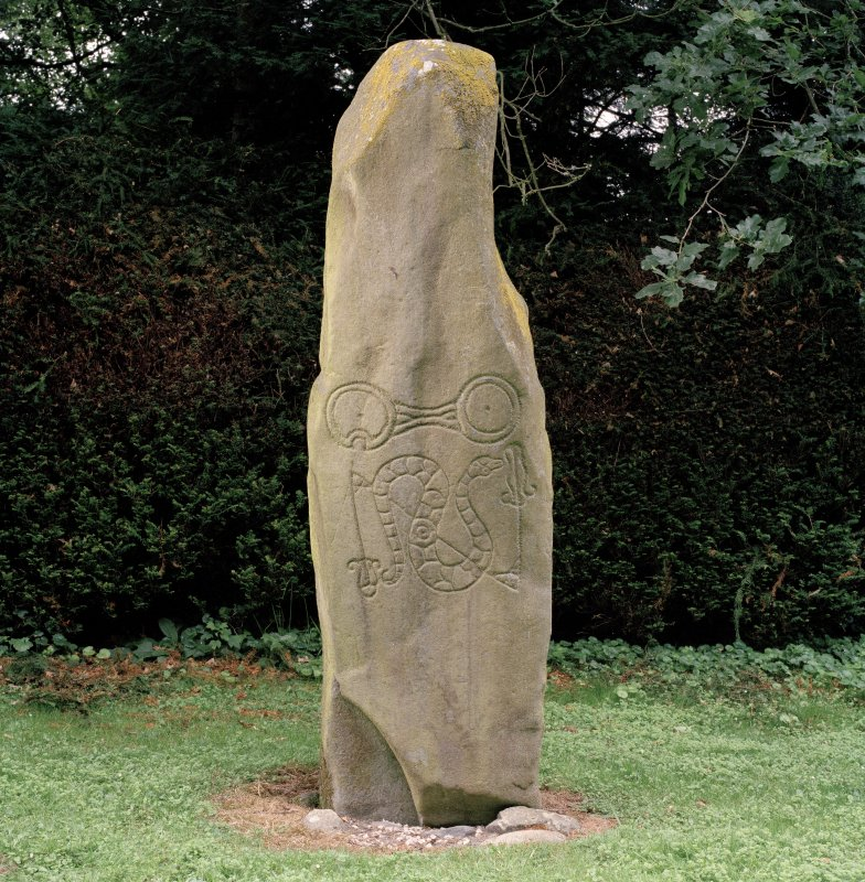 View of symbol stone (flash-lighting).