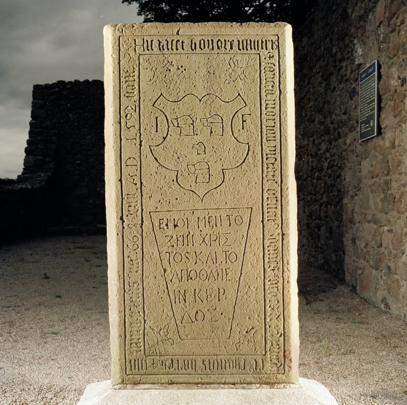 Reverse of medieval graveslab, showing secondary inscription commemorating John Forbes of Ardmurdo, d.1592.  Slab bears Forbes arms, and inscriptions in both Latin and Greek.