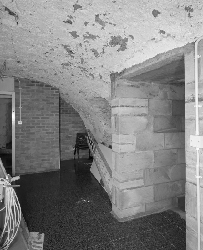 Tower, view of ground floor, showing vaulting