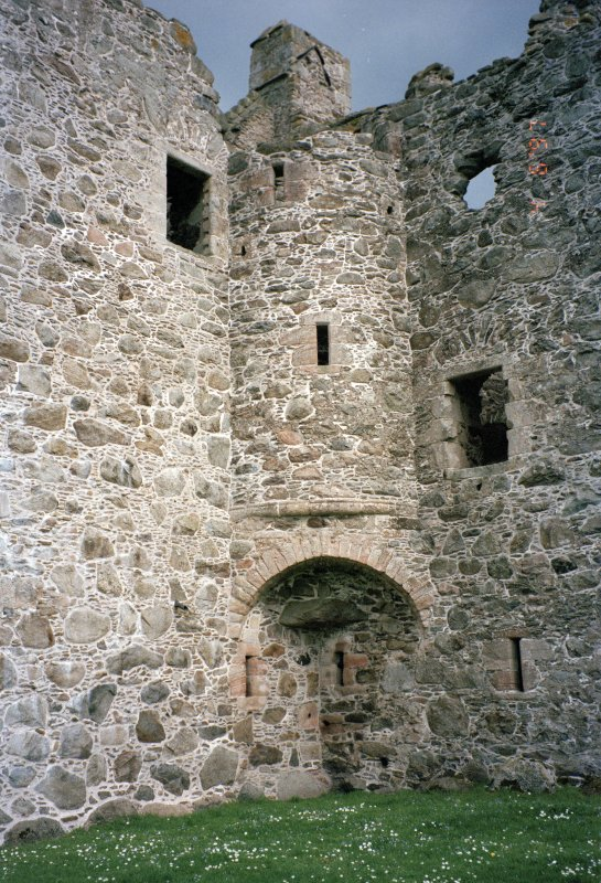 View of NW corner of tower-house