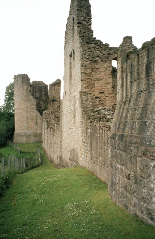 View along NW side of castle to Warden's Tower
