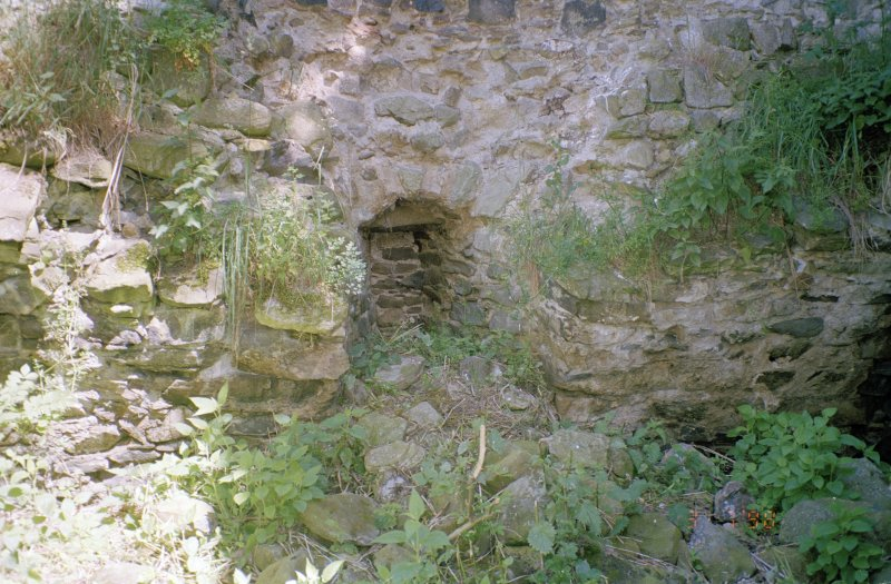 Detail of blocked window in NE wall, close to E corner of tower