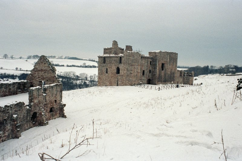 Excavation photograph : castle from SE and stable block.