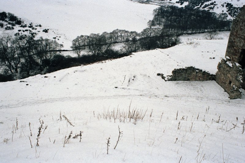 Excavation photograph : area to immediate S of stable block, showing outlines of other structures, from E.