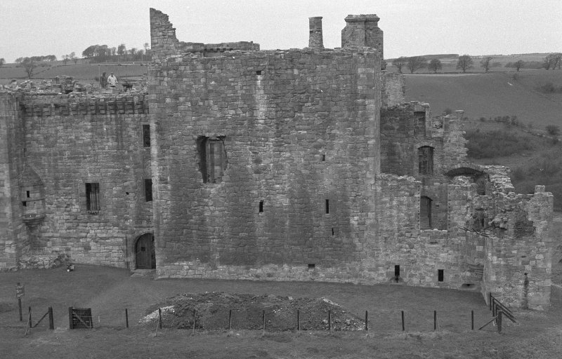Excavation photograph : tower house forming E side of castle.