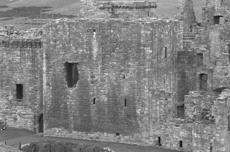 Excavation photograph : close up of tower house, from E.