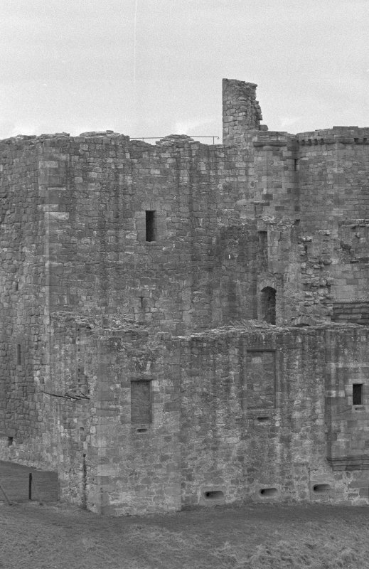 Excavation photograph : N side of castle from N.