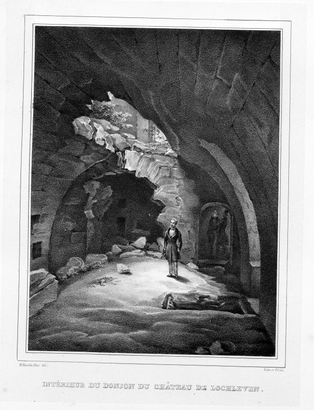 Photographic copy of lithograph showing interior of castle.