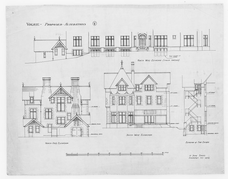 Elevations showing alterations including details of stairs for Vogrie House.