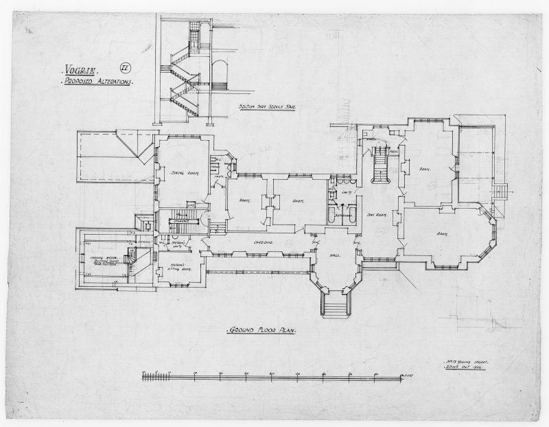 Ground floor plan showing alterations for Vogrie House.