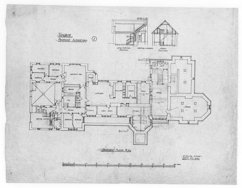 Basement floor plan and sections of heating chamber showing alterations for Vogrie House.
