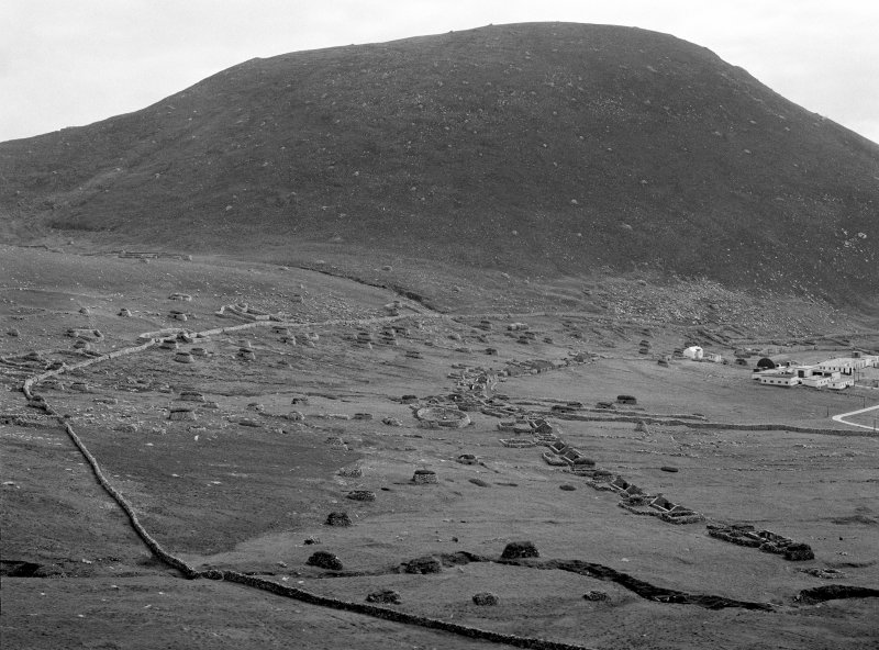 Village. General view from West towards An Lag Bho'n Tuath and Oiseval.
