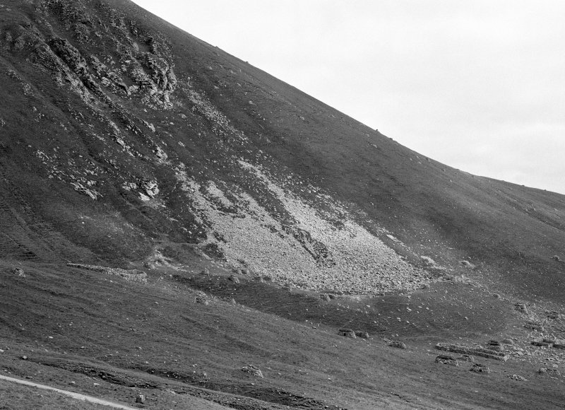 St Kilda, Hirta, Conachair. View of S slope of Conachair, including cleitean and enclosure.